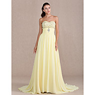 Formal Evening/Prom/Military Ball Dress - Daffodil Plus Sizes Sheath/Column Sweetheart Sweep/Brush Train Chiffon