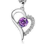 Ladies' Silver Purple Crystal Pendant