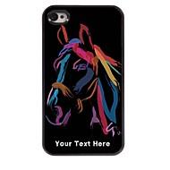 caso de telefone personalizado - aquarela caso cavalo design de metal para iPhone 4 / 4S