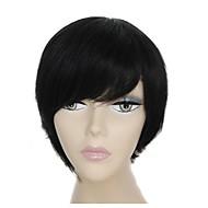100% שיער אדם פאה קצרה בלי כומתה שחורה ישר שיער עם פוני לצד