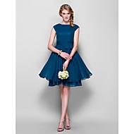abito di chiffon damigella d'onore al ginocchio ritorno a casa - inchiostro blu taglie a-line / principessa gioielli