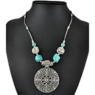 Fashion Vintage Silver Plated Hollow Out Carving Flower Turquoise Necklace