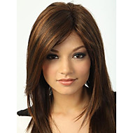 Hetteløs høy kvalitet ganske middels rett brunt hår parykk