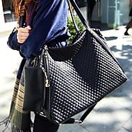 Women PU Barrel Shoulder Bag / Tote / Satchel - Black