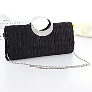 Women Bags Silk Evening Bag with Crystal/ Rhinestone for Event/Party White Black Fuchsia