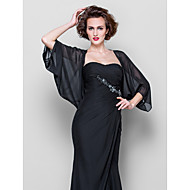 Women's Wrap Coats/Jackets 3/4-Length Sleeve Chiffon Black Wedding / Party/Evening / Casual Scoop Draped Open Front