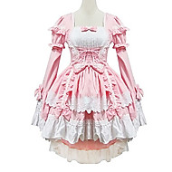 Lovely Maid Style Long Sleeve Pink Cotton Princess Lolita Dress