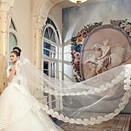 Wedding Veil One-tier Cathedral Veils Lace Applique Edge 157.48 in (400cm) Tulle / Satin