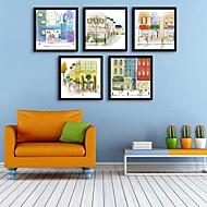 e-Home® inramade arbetsytan konst, stad byggnad inramat kanfastryck uppsättning av 5