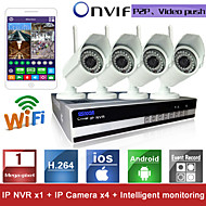 Sinocam® - vattentät IP-kamera för dag och natt med fyra kanaler, Wifi H.264 NVR-kit (fyra delar, trådlös 1 MP 3,6  mm, P2P)