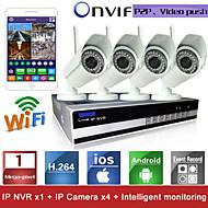 Sinocam® 4CH Wifi H.264 NVR Kit(4pcs Wireless 1.0MP 3.6mm Day Night Vision Weatherproof IP Camera),P2P