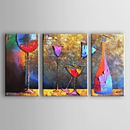 Hand-Painted AbstractTraditional Modern Three Panels Canvas Oil Painting For Home Decoration
