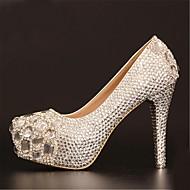 Women's Spring / Summer / Fall / Winter Heels / Platform / Round Toe Leatherette Wedding Stiletto Heel Rhinestone Silver