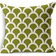 geometrisk ljusgrön bomull / linne dekorativa örngott