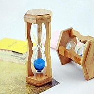 Wooden Frame Glass Hourglass With Blue  Sand