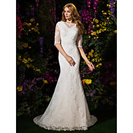 Lan Ting Trumpet/Mermaid Wedding Dress - Ivory Court Train Bateau Lace / Tulle