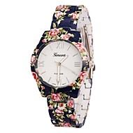 ONITIME Women's Flower Print Alloy Band Quartz Wrist Watch