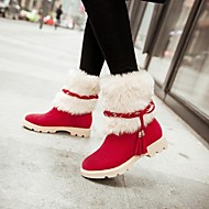 Women's Shoes Round Toe Chunky Heel Mid-Calf Boots with Fur More Colors available