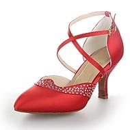 cetim das mulheres modren cubano calcanhar com sapatos de dança de strass (mais cores)