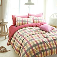 h&c ® dik katoen geschuurd stof dekbedovertrek set 4 stuks checker noorwegen stijl