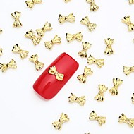 50PCS 3D Gold Nail Art Jewelry Alloy Slice Golden Stud Shining Bow Tie Rivet for Nail Design