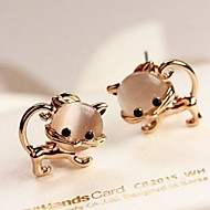 Cute Kitten Stretch Opal Earrings
