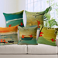 5 pcs Cotton/Linen Pillow Cover,Animal Print Modern/Contemporary