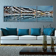 E-HOME® Stretched LED Canvas Print Art The Town At Night Flash effect LED Set of 3