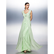 TS Couture® Dress - Sage Plus Sizes / Petite A-line Straps Floor-length Chiffon / Tulle