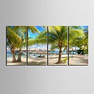 E-HOME® The Beach Clock in Canvas 4pcs