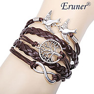 eruner® kvinnors skiktade legering älskar fåglar livet trädet och oändlighandgjort läderarmband