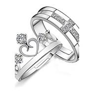 925 Couples' Silver Rhinestone Crown Rings (2 pcs)