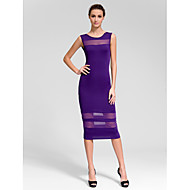 Cocktail Party Dress - Grape Sheath/Column Jewel Knee-length