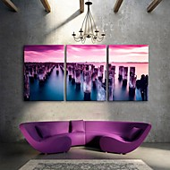 E-HOME® Stretched Canvas Art The Sea Decoration Painting Set of 3
