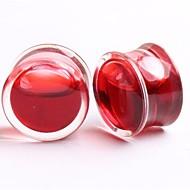 2014 nouvelle acrylique rouge style bouchons d'oreille liquides corps tunnel de chair de jauge de bijoux, un ensemble de deux 6mm