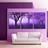 e-Home® gestrekt geleid canvas kunst paarse bomen flash effect LED set van 3