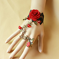 Retro Butterfly Black Lace Red Roses Bracelet Ring Set
