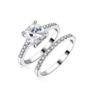 Princess Square CZ Engagement Ring Set