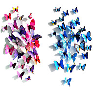 Popular PVC Three-Dimensional Simulation Butterfly Wall Stickers Wall Art Decals(Assorted Colours)(12 Pcs)