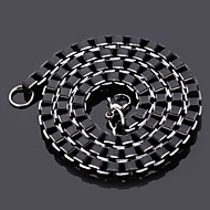 U7® Men's Cool Black Box Chain Aluminum Alloy Necklace 6MM 55CM With 316 Stamp Fashion Jewelry