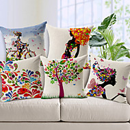 5 pcs Cotton/Linen Pillow Cover,Novelty Modern/Contemporary