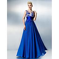 TS Couture Dress - Ocean Blue Plus Sizes / Petite A-line Jewel Floor-length Chiffon / Lace