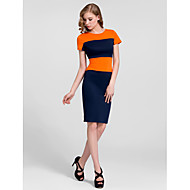 Cocktail Party Dress - Orange/Pool/Royal Blue Sheath/Column High Neck Knee-length Cotton