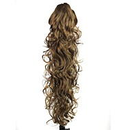 Claw Clip Synthetic 28 Inch Brown Long Curly Ponytail Hairpiece