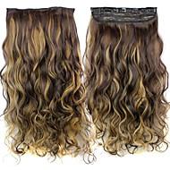 קליפ 24 120g אינץ 'החום ארוך עמיד סיבים סינטטיים מתולתל בתוספות שיער עם 5 קליפים