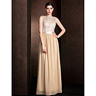 Lanting Bride® Floor-length Lace / Georgette Bridesmaid Dress - Mini Me Sheath / Column Bateau Plus Size / Petite withLace / Sash /