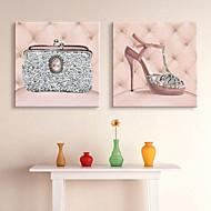 e-FOYER étiré conduit impression sur toile art chaussures à talons hauts et l'effet sac flash LED SET 2