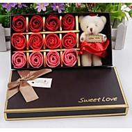 12pcs הרומנטי הוורדים אהבת פרחי סבון מתנת חג האהבה עם דוב אחד