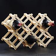 elegante 10 garrafa de vinho rack de madeira vinho escalável e dobrar colocado (2 cores)
