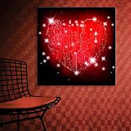 E-HOME® Stretched LED Canvas Print Art Red Love Flash Effect LED Flashing Optical Fiber Print